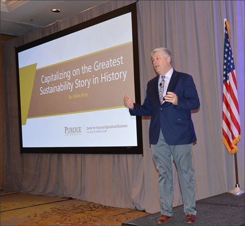 """Allan Gray of Purdue Univeristy presents """"Capitalizing on the Greatest Sustainability story in History"""" at the opening general session of the USMEF Strategic Planning Conference"""