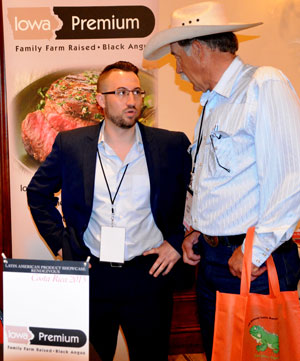 Rancher Rod Gray (right), a member of the Nebraska Beef Council Board of Directors, speaks with Zack Swan, director of international and halal sales for Iowa Premium Beef, at the USMEF Latin American Product Showcase in San Jose, Costa Rica