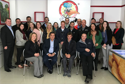 The Pork Leadership Institute team pauses for a photo this week during a visit to Calypso del Caribe, a meat importer and processor in Bogota, Colombia