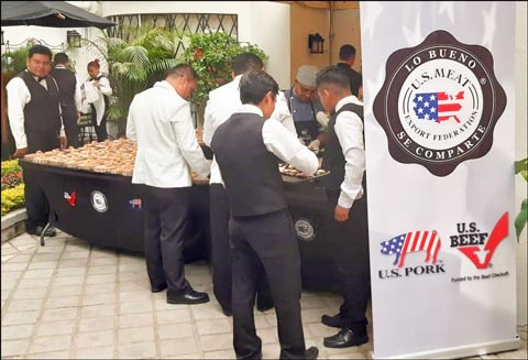 U.S. pork and beef dishes were served at a meat and wine pairing event at the home of U.S. Ambassador Luis E. Arreaga in Guatemala City, Guatemala