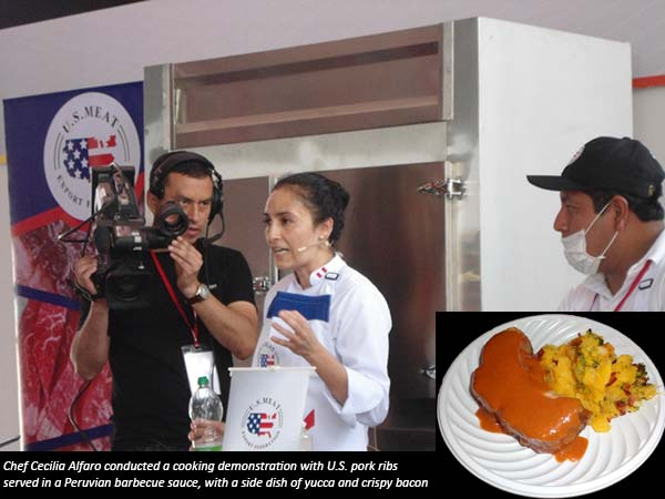 Chef Cecilia Alfaro conducted a cooking demonstration with U.S. pork ribs served in a Peruvian barbecue sauce, with a side dish of yucca and crispy bacon