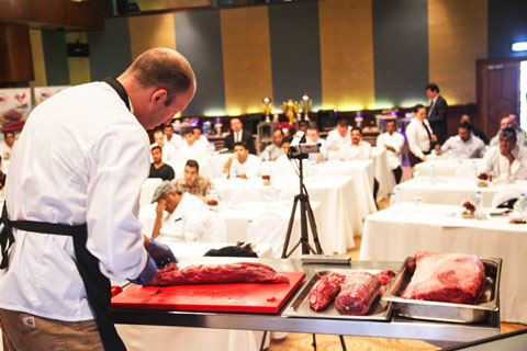 Cutting demonstrations offered attendees useful information about U.S. beef