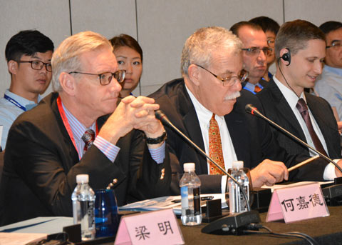 Joel Haggard (left), USMEF senior VP for the Asia Pacific, and Bruce Zanin, agricultural minister counselor at the U.S. Embassy in Beijing, address a U.S. beef educational workshop