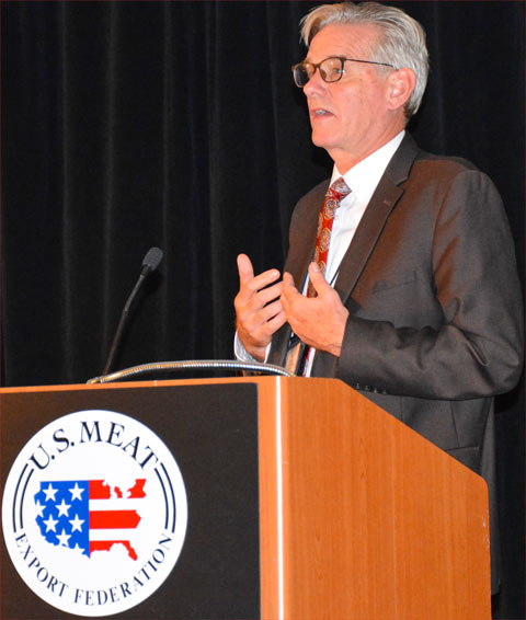 Joel Haggard, senior VP for the Asia Pacific, gave USMEF members a detailed overview of market conditions in China