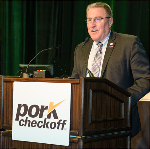 USMEF President and CEO Dan Halstrom speaks to producers and industry leaders at the National Pork Industry Forum