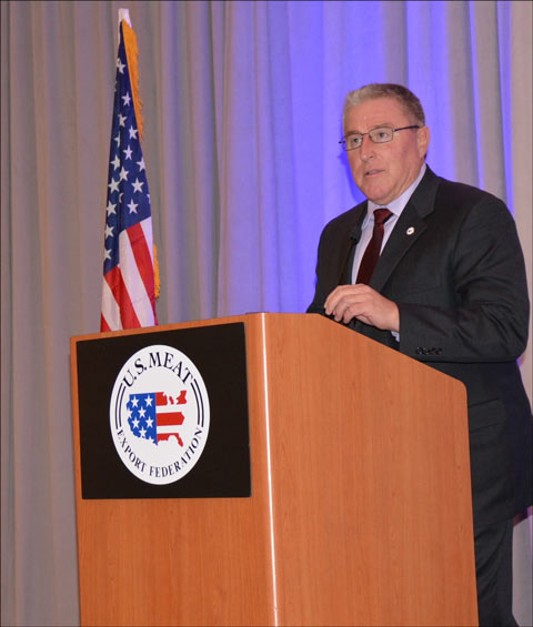 President and CEO Dan Halstrom updates USMEF members on export projections and key trade issues at the USMEF Strategic Planning Conference