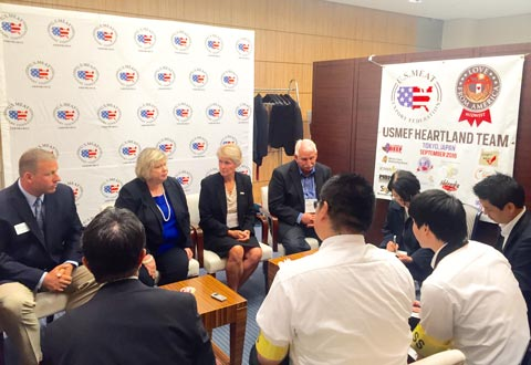 Heartland Team members answer questions about their farms and production practices during a face-to-face session with the Japanese media