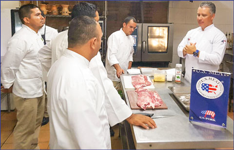 Employees of foodservice companies in Honduras receive training on the preparation and cooking of U.S. St. Louis-style pork ribs