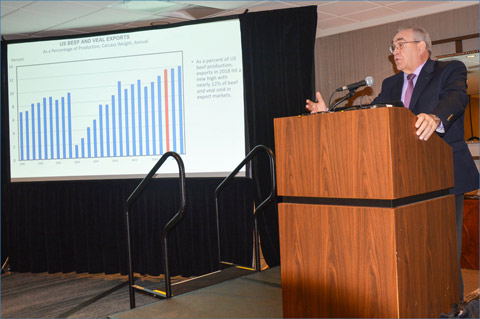 David Miller, director of research and commodity services for the Iowa Farm Bureau Federation (IFBF), shares data on U.S. red meat exports during a USMEF luncheon sponsored by IFBF