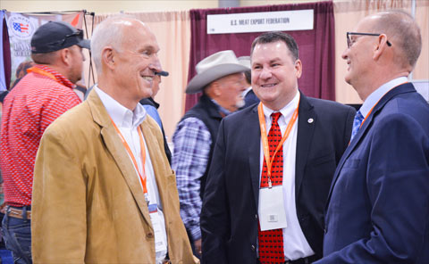 (left to right) USMEF CEO Emeritus Philip Seng and Assistant VP for Industry Relations John Hinners meet with Greg Ibach, USDA under secretary for marketing and regulatory programs