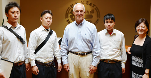 Students from Japan's Soma Agricultural High School with USMEF President and CEO Philip Seng