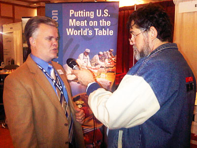 USMEF Communications Director Joe Schuele speaks with broadcaster James Hunt of KGNC Radio in Amarillo, Texas