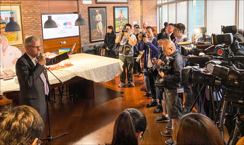 Joel Haggard, USMEF senior vice president for the Asia Pacific, addresses the media during a press conference in Hong Kong to announce implementation of a new U.S. chilled pork supply chain