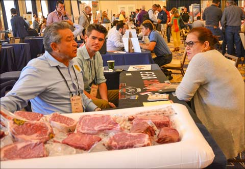 Various cuts of U.S. beef, pork and lamb that fit well in Latin American markets were put on display and tasting samples of Latin American-style dishes were offered to attendees throughout the show