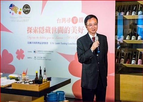 Davis Wu, USMEF director in Taiwan, welcomes attendees and shares information about U.S. lamb at one of three tasting lunches in Taipei