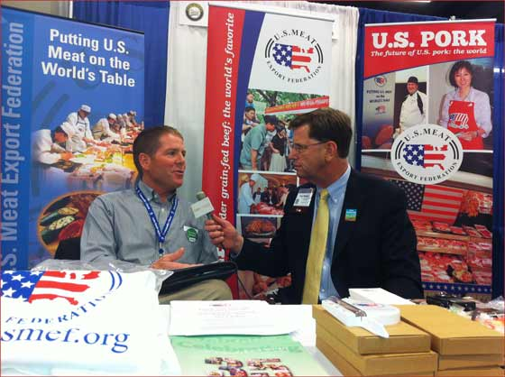 Brownfield Ag News' Tom Steever interviews Mark Jagels (l.)