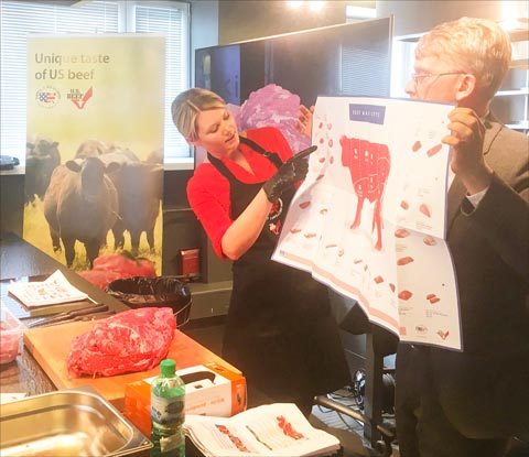 McEndaffer and USMEF Representative Yuri Barutkin gave participants in Estonia detailed information on U.S. beef cuts and how to use them
