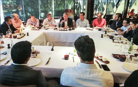 USMEF President and CEO Dan Halstrom (center) addresses key customers in Monterrey during a weeklong series of industry meetings in Mexico
