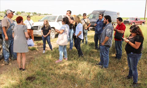 The Mexico media team learns about U.S. livestock production at the Bloom Ranch in Brighton, Colorado