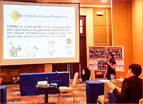 Monica Regaspi, USMEF representative in the Philippines, explains USMEF's role and the services it provides to U.S. red meat customers