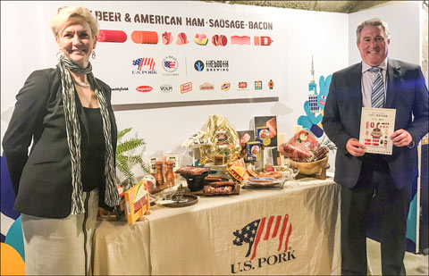 North American Meat Institute President and CEO Julie Anna Potts and USMEF President and CEO Dan Halstrom participate in a consumer event highlighting U.S. processed pork products in Seoul, South Korea