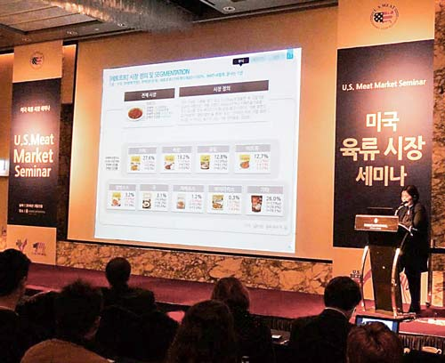 At the U.S. Meat Market Seminar in Seoul, Jihye Shin, senior manager of the Nielson Company, presents a report based on Home Meal Replacement (HMR) market research that shows great potential for beef and pork products