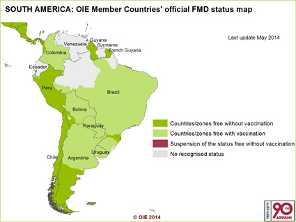 The FMD status of South American countries as classified by the World Organization for Animal Health (OIE)