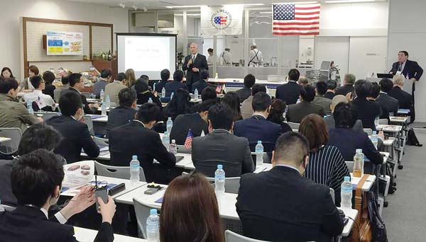 USMEF President and CEO Philip Seng greets buyers to a seminar examining alternative beef cuts, held last week in Tokyo