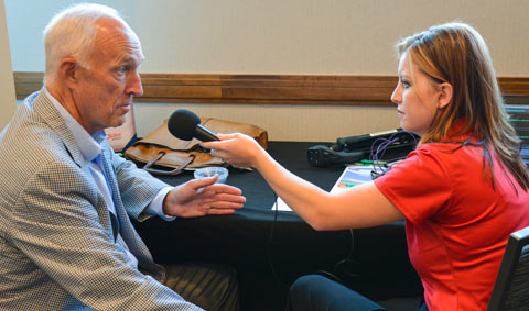 Philip Seng is interviewed by Shalee Peters of Nebraska's Rural Radio Network at the Cattle Industry Summer Business Meeting