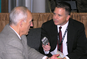 Broadcaster Tony St. James (right) interviews USMEF President and CEO Philip Seng