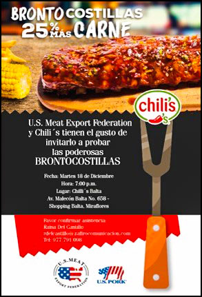This poster promotes the U.S. Pork Ribs Festival at one of the seven participating restaurants in Lima