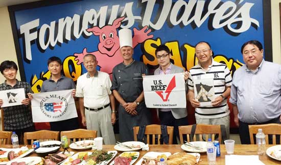 A team of Japanese chefs from the Prince Hotel and Resort chain got a taste of U.S. beef and pork dishes prepared by Chef Tim McCarty at Famous Dave's test kitchen in Minnetonka, Minnesota