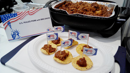 For buyers in attendance, U.S. pulled pork was a popular sampling item