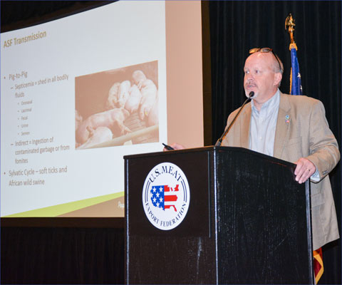 Dr. David Pyburn, senior vice president for science and technology for the National Pork Board, presents on African swine fever at the USMEF Spring Conference in Kansas City