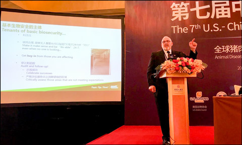 Minnesota pork producer Randy Spronk, a member of the USMEF Executive Committee, discusses on-farm biosecurity at the U.S.-China Swine Industry Symposium in Beijing