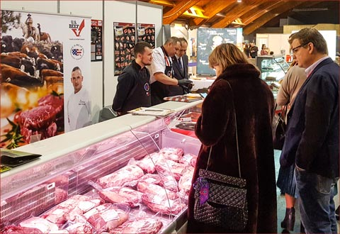 A display case featuring a range of U.S. beef cuts helped USMEF educate potential customers during exhibitions in Latvia, Estonia and Lithuania