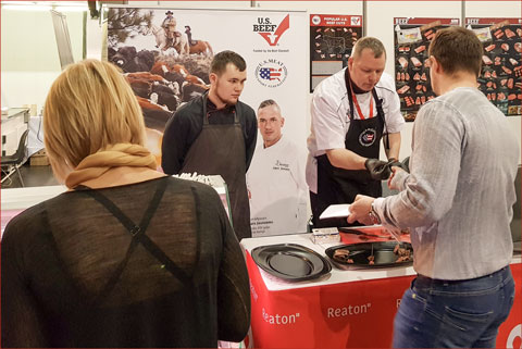 At the USMEF booth during Reaton Professional Days, HRI professionals in the Baltics learned about the quality advantages of U.S. beef and picked up new ideas for using alternative cuts
