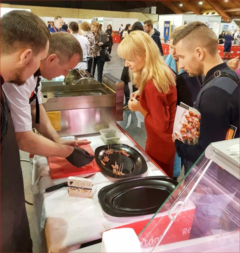 Tasting samples of U.S. beef sirloin, tri-tip and mock tender were given to more than 1,000 professionals who stopped by the USMEF booth
