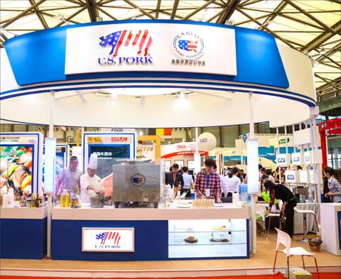USMEF's presence at SIAL China 2017 featured cuts of U.S. pork on display, along with pork cutting demonstrations and samples