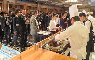A special reception during the Supermarket Trade Show in Japan featured U.S. pork and beef dishes