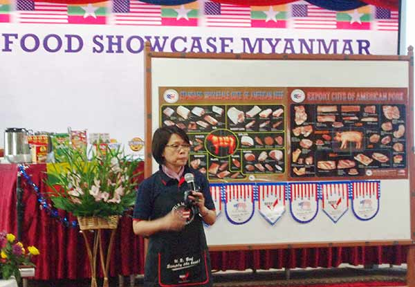 USMEF ASEAN Director Sabrina Yin speaks at a U.S. food showcase in Myanmar