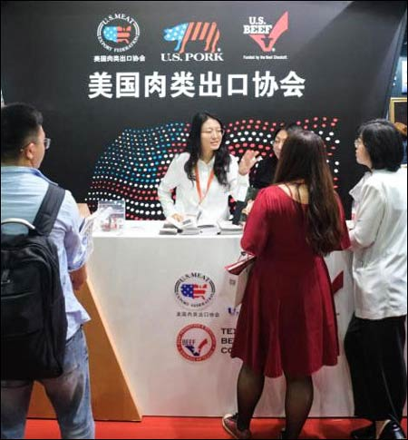USMEF staff provided educational materials on U.S. beef and pork and answered questions from potential customers at SIAL China