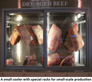 A small cooler with special racks for small-scale production