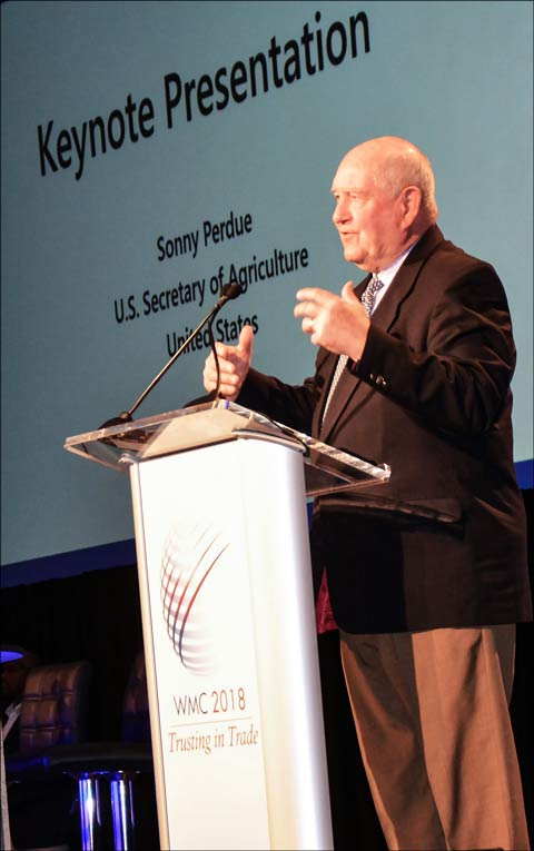 U.S. Agriculture Secretary Sonny Perdue delivers Thursday's keynote address at the 2018 World Meat Congress in Dallas