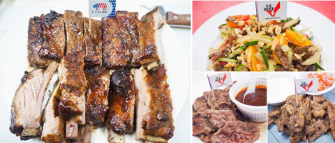 U.S. pork spare ribs and dishes made with U.S. beef heel muscle were cooked and sampled