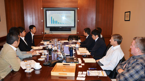 Buyers from Japanese meat importer/processor Starzen receive a global market overview at USMEF headquarters in Denver