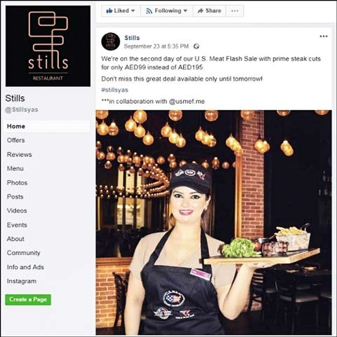 Stills Bar and Brasserie in Abu Dhabi promotes U.S. beef during Texas Beef Nights on its website