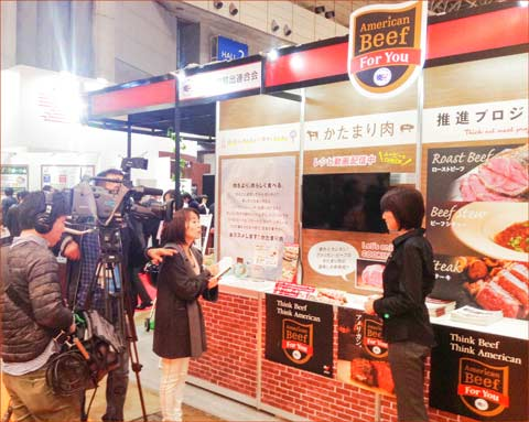 A Japanese television crew visits the USMEF booth at Supermarket Trade Show 2017
