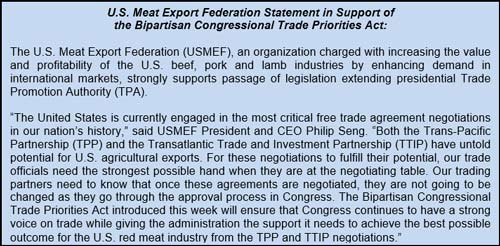U.S. Meat Export Federation Statement in Support of the Bipartisan Congressional Trade Priorities Act