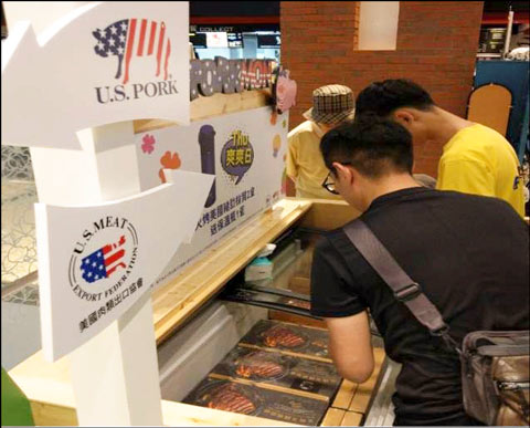 A display freezer was part of the pop-up store, allowing visitors to purchase U.S. pork after tasting samples